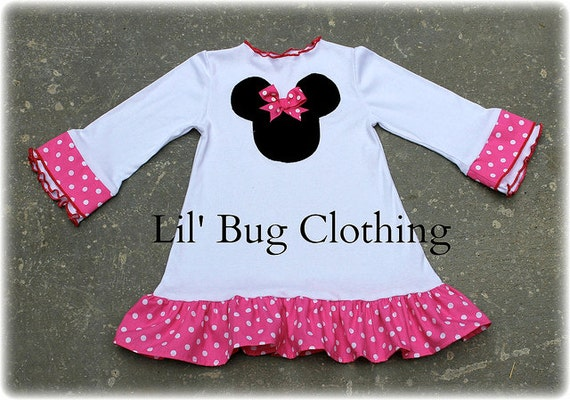Custom Boutique Clothing White Knit Hot Pink Dot Minnie Mouse Comfy Knit Dress
