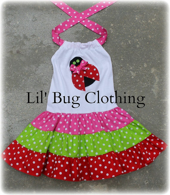 2T Only CLEARANCE Sale Custom Boutique Clothing  Ladybug Red and Black Dot Tiered Halter Skirt  Birthday