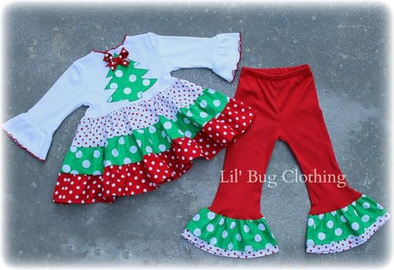 Christmas Girl Holiday Outfit Christmas Tree Polka Dot Girl