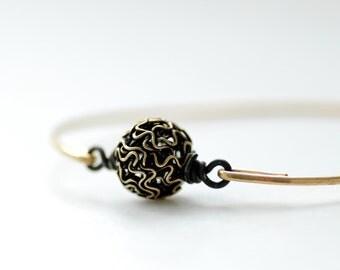 Mixed Metal Bracelet, Stacking Bracelet, Hammered Bangle Bracelet, Brass Bangle, Modern Minimalist Jewelry Under 25 - Orbit