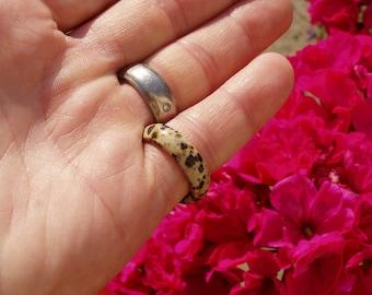 Dalmatian Jasper Ring - Size 6 3/4