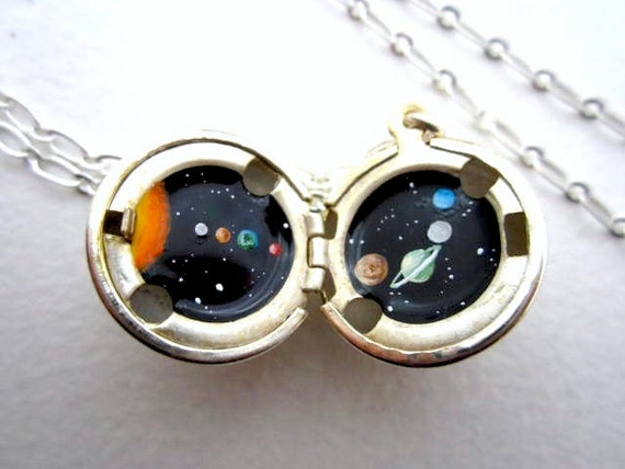 Solar System Necklace - Hand-painted Silver Locket - Tiny Planets in Deep Black Outerspace - Secret Escape