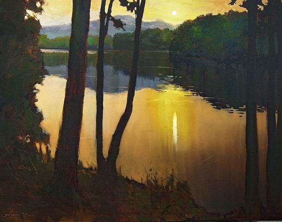 Sunset Lakeside - Giclee Fine Art PRINT of Original Painting matted 16x20 by Jan Schmuckal
