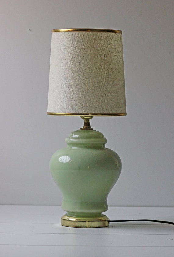 mint green glass petite table lamp. Black Bedroom Furniture Sets. Home Design Ideas