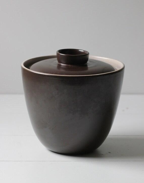 reserved.....large Heath ceramic pottery lidded pot dark brown modern