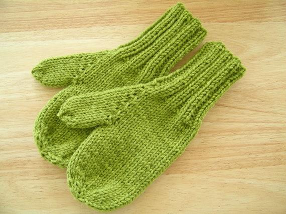 Child Medium Mittens Wool/Alpaca Hand Knit Fern
