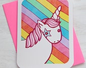 Unicorn Rainbow Magic Notecard