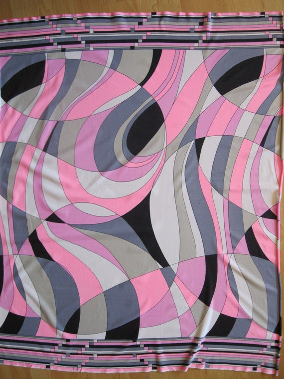 Pucci - esque print flowy jersey, early 1970's, in shades of pink and gray  with black, cream, and beige