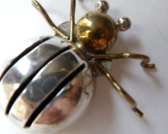 Mexican Silver Sterling Beetle Taxco Vintage  Brooch Pin