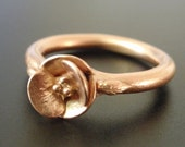 SAMPLE SALE (Size 6 to 6.5) - A Tiny Rose-Gold Poppy - Solid 14K Rose Gold Poppy Ring - Ready to Ship