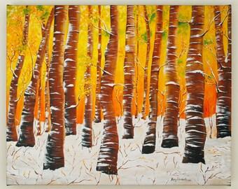 Birch Trees in the Snow--16x20 Fine Art Canvas Print