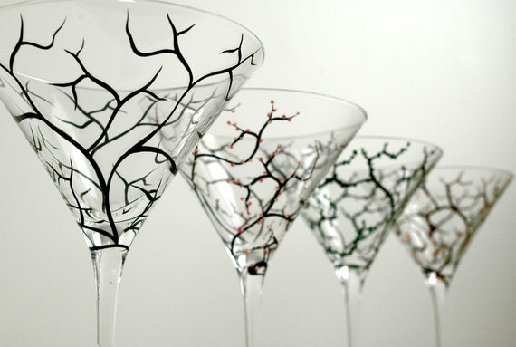 The Four Seasons Martini Glasses - Hand Painted Glasses with Winter, Summer, Spring and Fall on 4 Painted Martini Glasses
