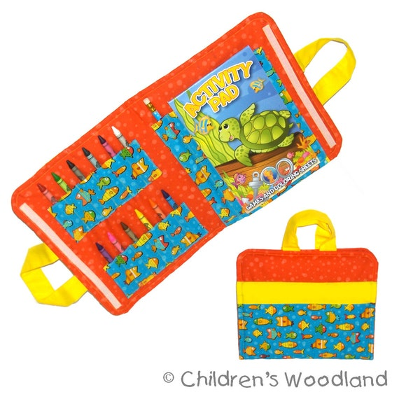 KIDS TRAVEL TOY - Art Travel Caddy - Fish - (Includes All Supplies Shown)