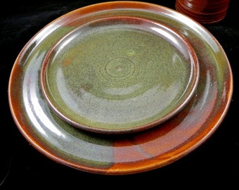 Salad Plate: Small One Hazel Brown and Green Stoneware Ceramic Plate Salad Small Pottery Zpottery