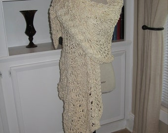 Hand Knit Natural Organic Cotton Shawl
