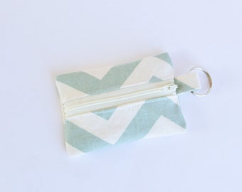 Small Zipper Pouch, Ear Bud Holder, Credit Card Case, Smoky Blue Chevron