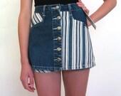 vintage -DEADSTOCK- Striped Denim Skirt/Shorts ..... Size: Small