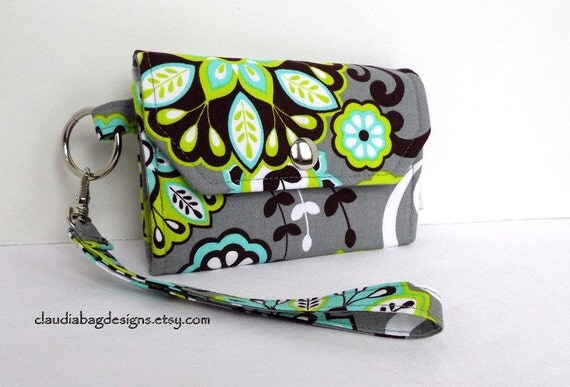 Cell Phone Wallet - Case - Holder - Wristlet (Turquoise Lime Floral)
