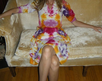 Patterned Tie Dyed Antique Dress in White, Red, Orange and Purple