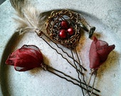 Red Rose Woodland Hair Pins