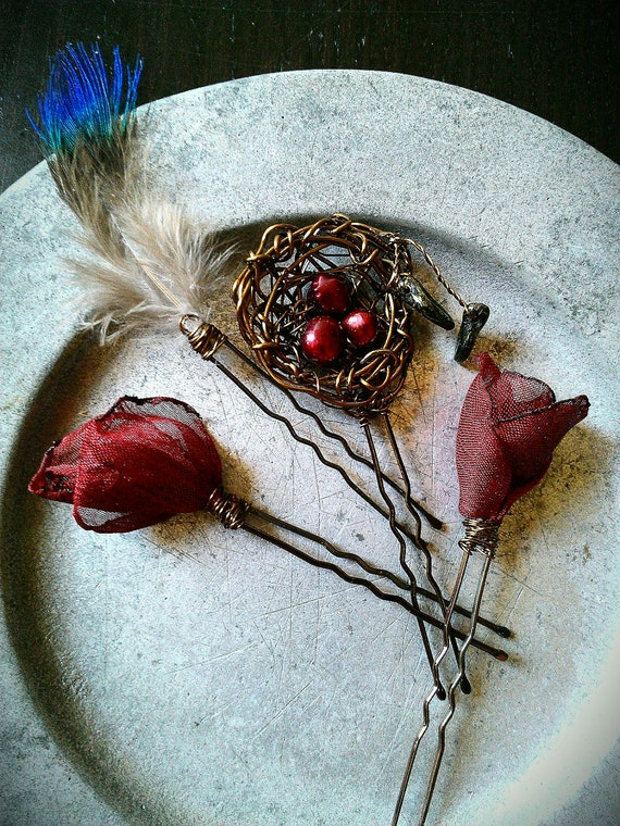 Red Rose Woodland Hair Pins Fairy Tale Forest