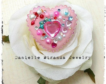 Sweet Alice Pink Heart Kawaii Collage Sparkle Heart Ring