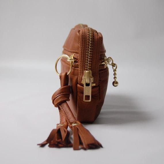 5 pocket leather wallet/mini clutch in acorn