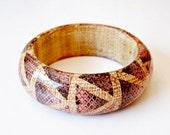vintage TRIBAL bracelet  / snakeskin GEOMETRIC chunky bangle