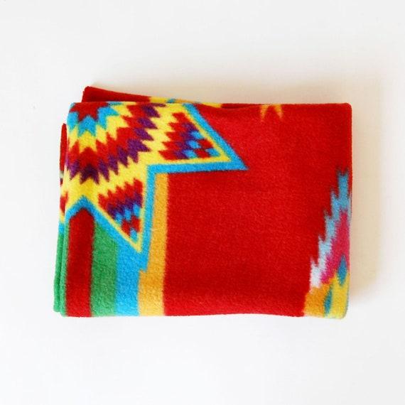 vintage NAVAHO throw /  1980s IKAT print fleece cover up blanket