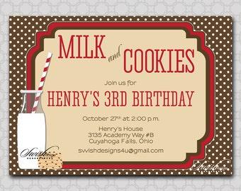 Cookies and Milk Invitation - birthday party printables  - Digital 5x7 Invite