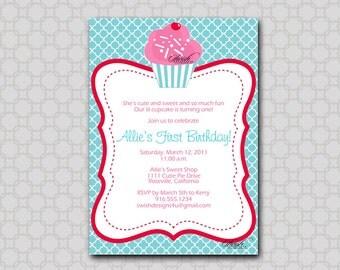 Cupcake Invite - Birthday Party Invitation - Digital Birthday Invite - printable party