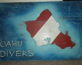 Wood sign carved-OAHU DIVERS
