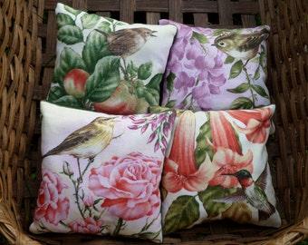 Set of Four Songbird Themed Lavender Sachets