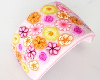 Pink Polymer Clay Pony Tail Hair Barrette Flowers Millefiori
