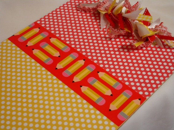 TEACHER CLIPBOARD Pencils and Polka Dots PERSONALIZED