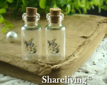 4pcs 35x16mm Handmade Clear Glass Photo Wishing Bottle Vials Pendants (Alice in wonderland) --  HC108E