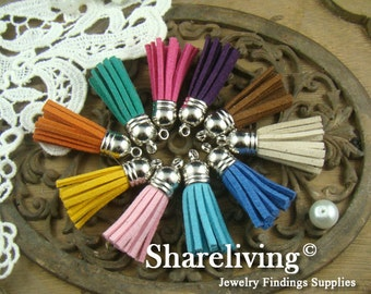 5pcs Mixed Color Silver Plated Leather Rope Tassel Charms  ST053