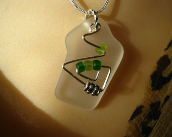 Sea Glass inspired frosted clear pendant wire wrapped with green glass beads TrAsH gLaSs
