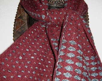 Handwoven  Scarf for Men,  Wool and Cotton Chenille