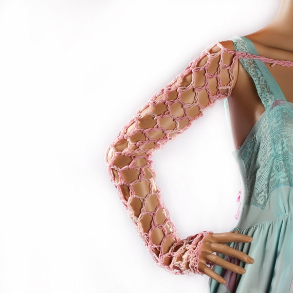 Ombre Arm Warmers - pink blue Crochet long Sleeves Organic Cotton shrug Belly Dance Gothic fishnet Summer Festivals Boho