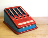 Vintage Toy Adding Machine Tin Toy by Wolverine, Back to School, Red Blue