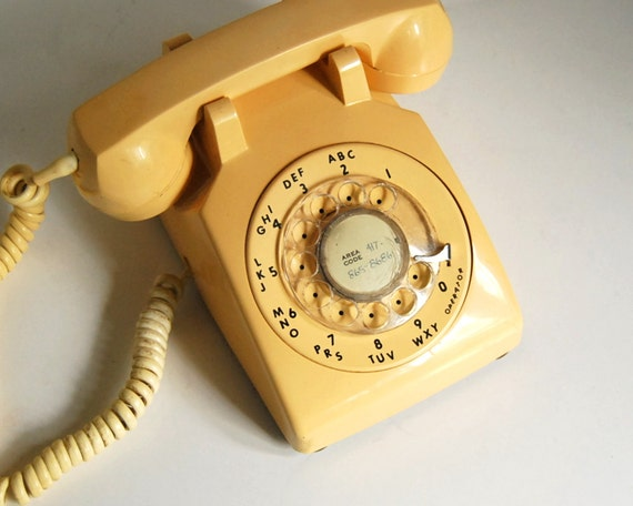 Vintage Phone ITT 500 Series 1983 Ivory Rotary Dial Telephone Office Supplies