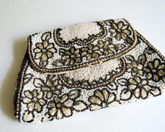Vintage French Beaded Purse Formal Belt Bag, Dance Purse Art Nouveau Antique Evening Purse