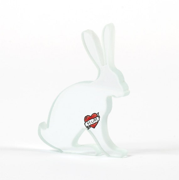 Tattoo Hare Glass Sculpture