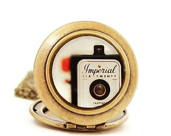 Photo Locket - Vintage Imperial Camera Photo Locket Necklace