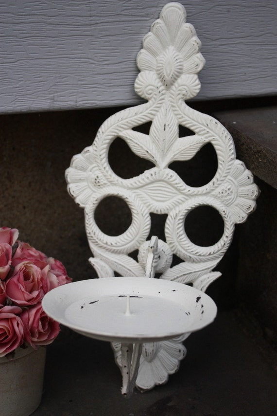 Vintage Cast Iron Shabby Chic Wall Candle Sconce