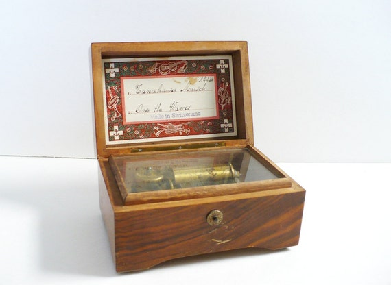 Antique THORENS Musical Box -Made in Switzerland with Original Tags Labels AL236 New York 1960s European Wood Box Over the Waves