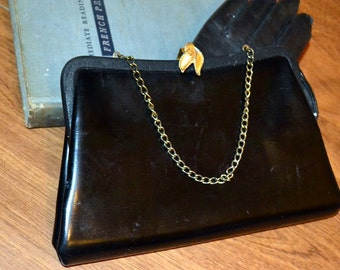 Vintage Black Leather Clutch Gold Leaves Clasp Handbag