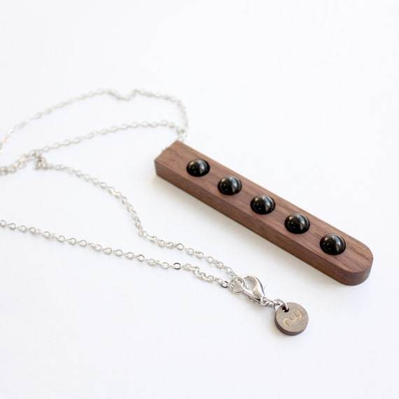 """Wood and Black Agate Necklace from the """"Palette"""" collection - Norwegian Wood x Devin Barrette Collaboration"""