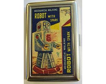 retro robot metal wallet vintage 1950's tin toy cigarette case ID holder kitsch